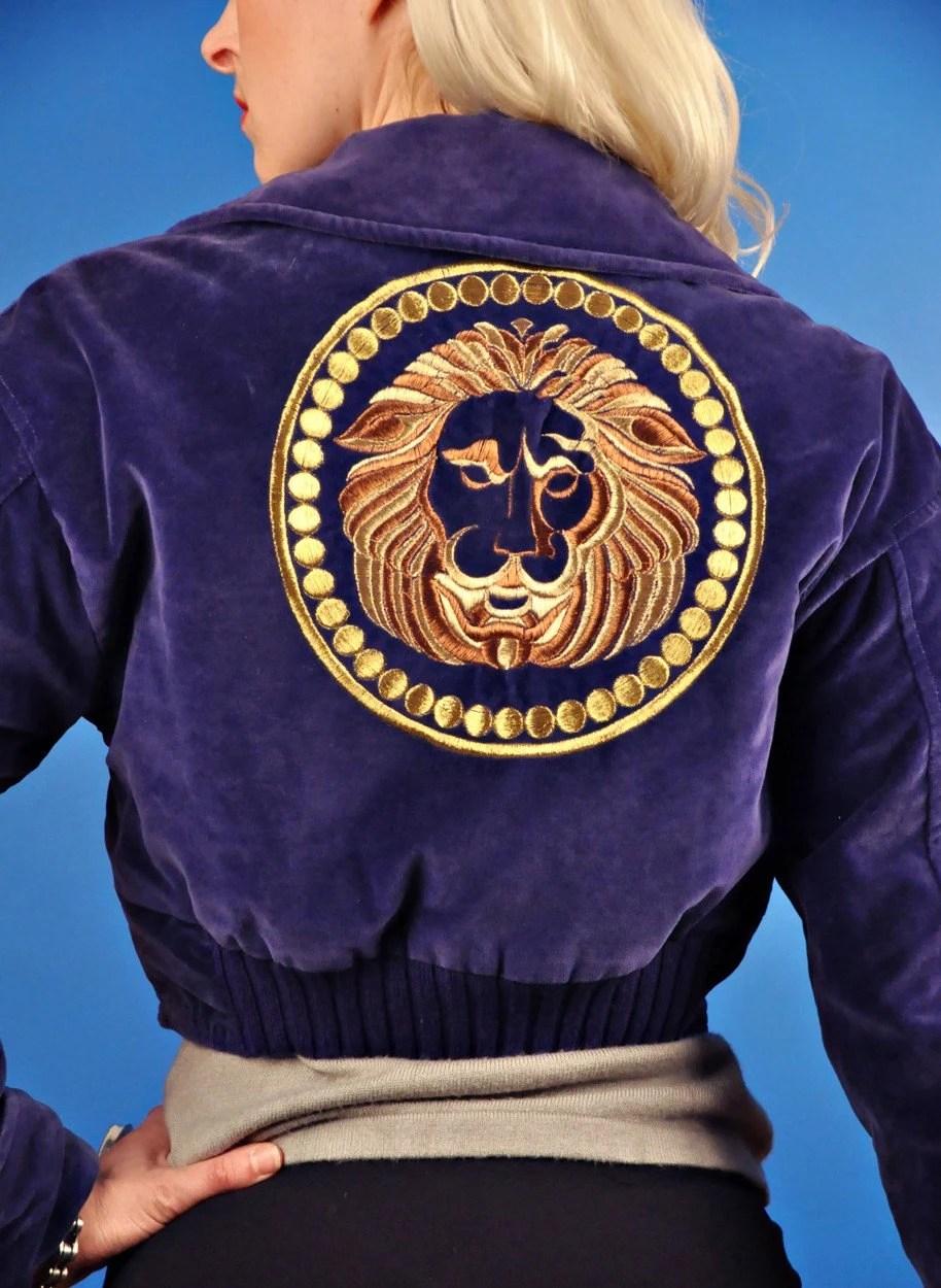 Versace Versus Vintage 90s Purple Velvet and Gold Lion Jacket M Medium