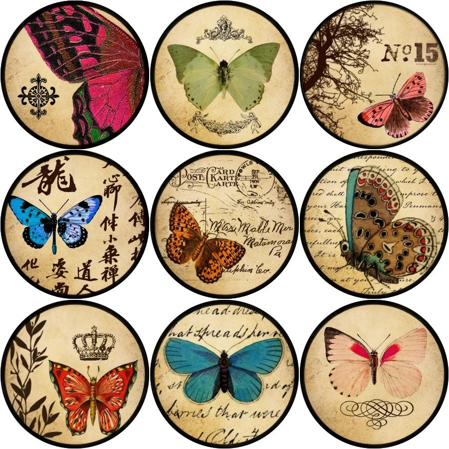 """Vintage Butterflies 1"""" Round Circle Digital Collage sheet NO.46 perfect for bottle caps, magnets, scrapbooking, cardmaking,pendants"""