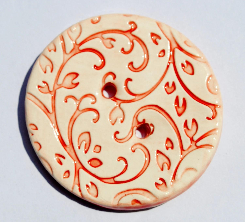 Ceramic Button Red Filigree vine leaves design in Rich & Warm Ruby Red