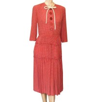 Vintage 1930s Red Polka Dot Rayon Dress (size S-M)