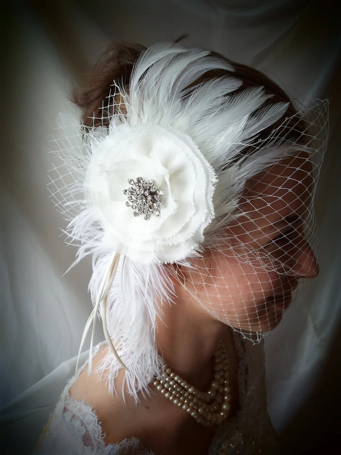 "Birdcage  Veil-""Creamy Delight"" with Fascinator"