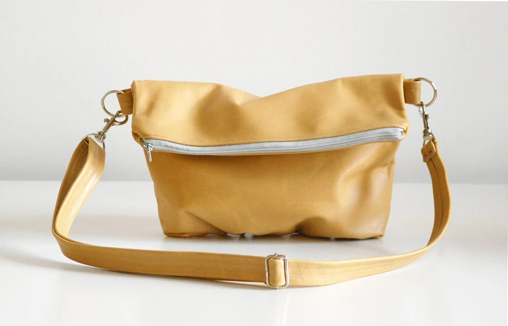 Foldover Clutch in Mustard Yellow - Ready to Ship
