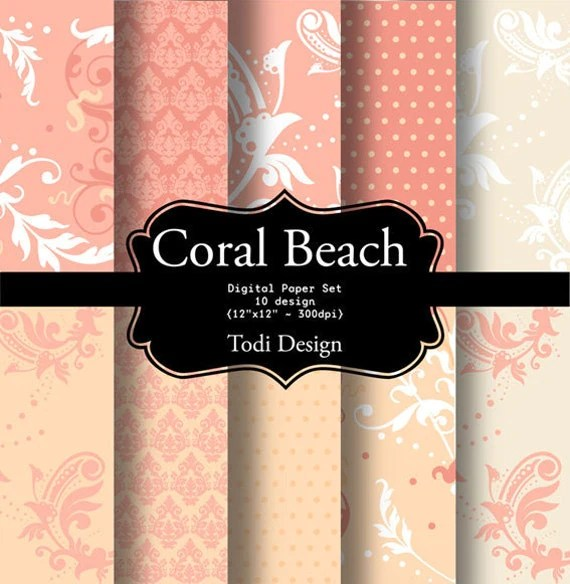 Coral Beach- Digital Paper Set