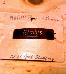 """Vintage 1940s/1950s Barrette - Tortoiseshell Personality """"Gladys"""" Barrette with 22K Gold Lettering"""