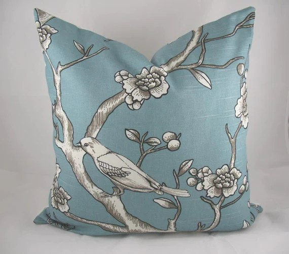 Decorative Pillow Cushion Cover - Accent Pillow - Throw Pillow - Dwell - Vintage Blossom Azure, Teal, Branch - 20 x 20 inch