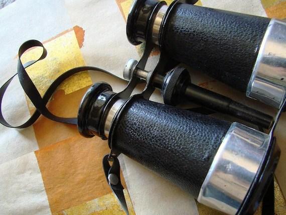 Vintage Antique Japan Binoculars and Compass 1950's Aluminum, Paper, and Vinyl