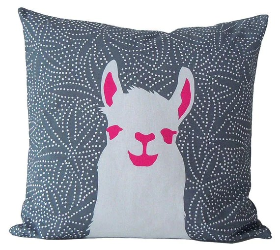 pillow case Llama Stone-grey