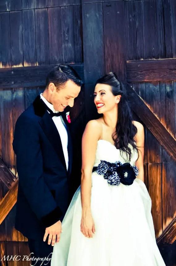 Statement Bridal Belt Wedding Sash Black and White