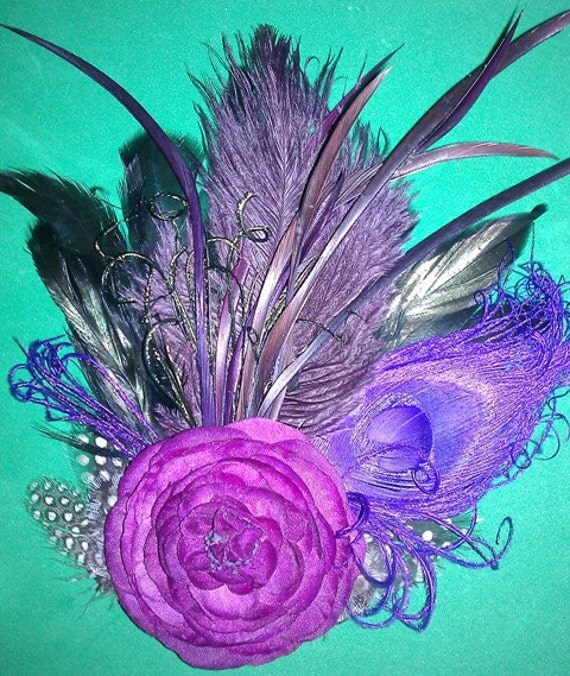 Wedding,True Blood,  Purple Fascinator, Vampire fascinator, NOLA, Wedding couture fascinator,Peacock feather