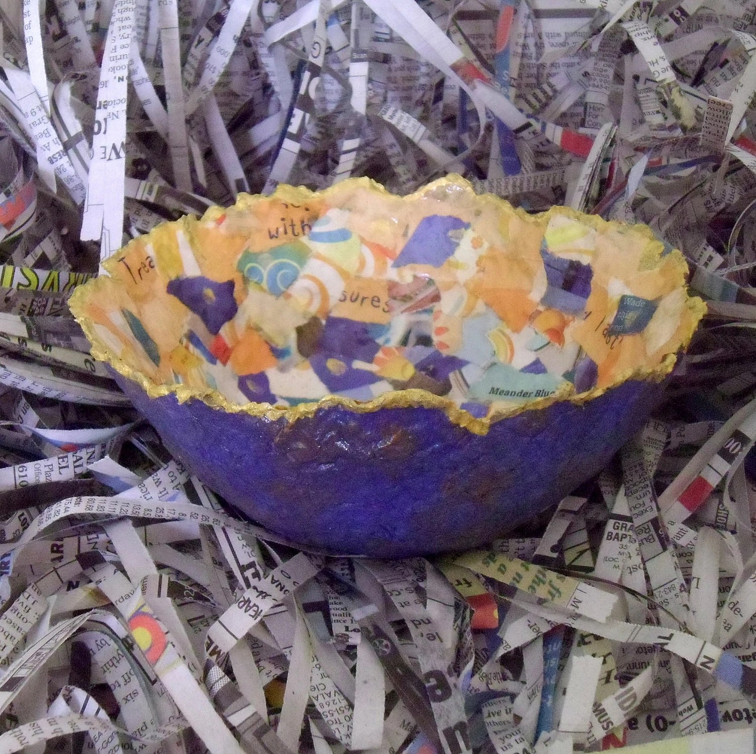 Recycled Paper Pulp Collage Bowl Blue and Orange