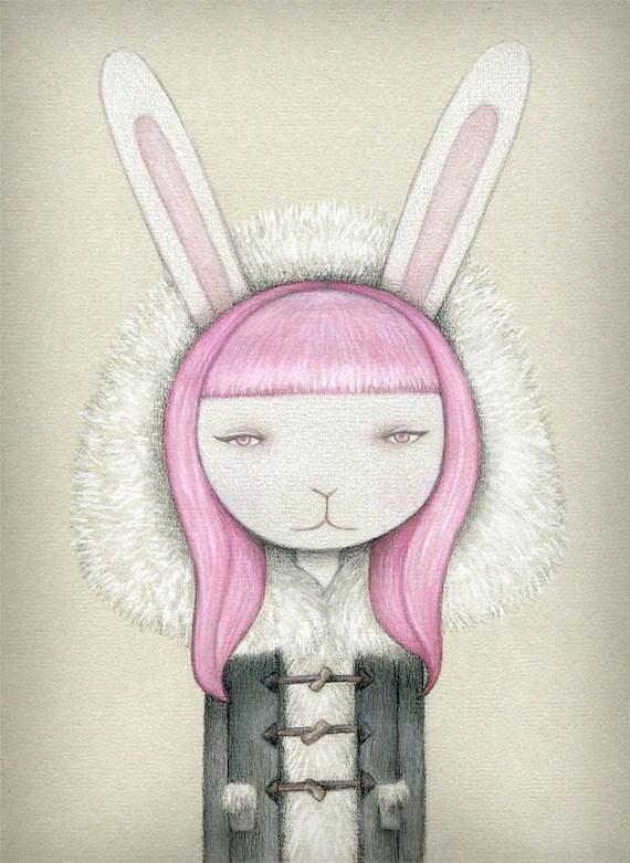 Snowbunny II, Bubblemint, archival print of original illustration by Anna Tillett Designs