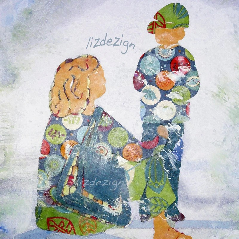 Mother and son at the kid's play park in sunshine bright colours  by Lizdesign