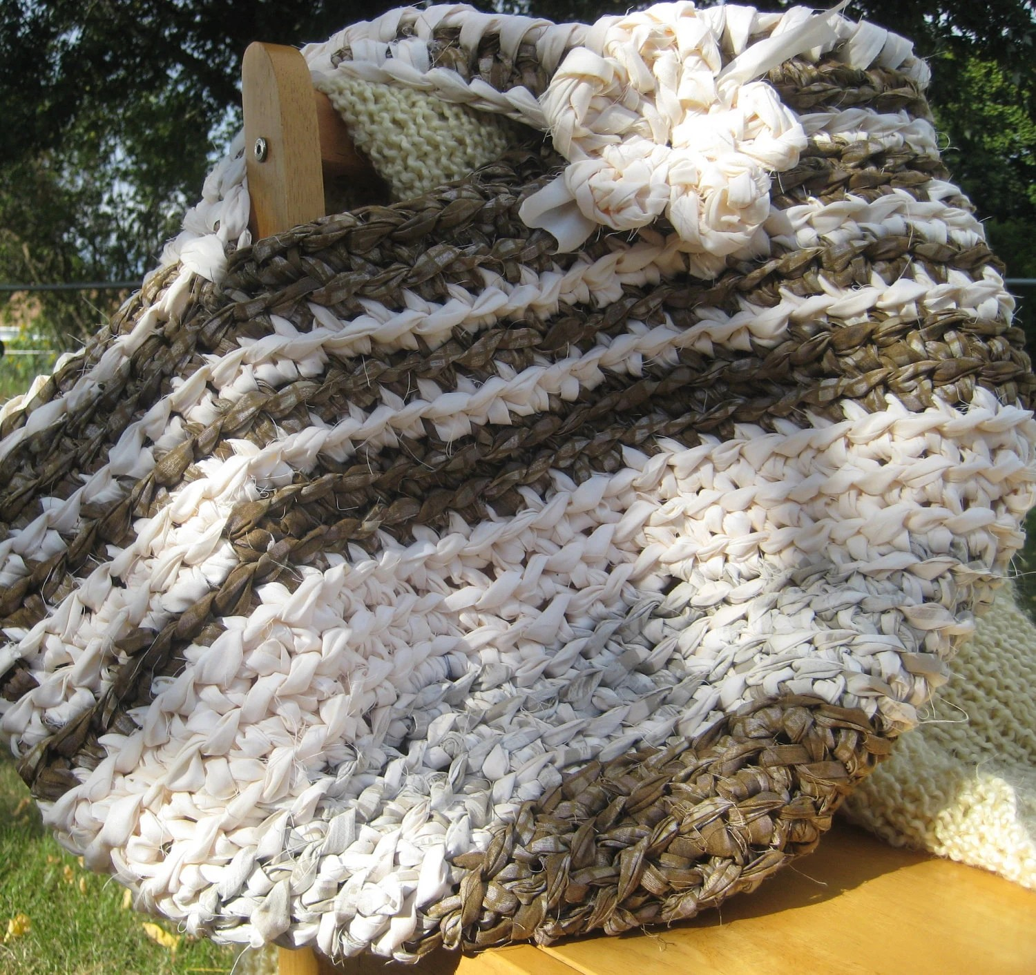 Brown & Creamy Beige 'Rag Rug' Bag, Basket, Tote, Carry-all, Storage