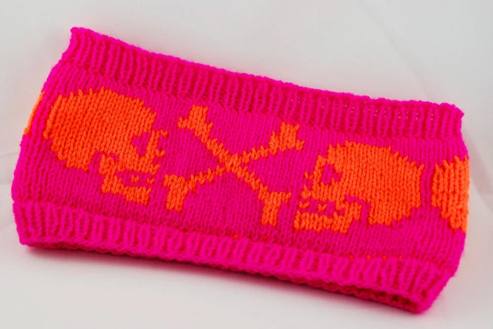 double knitted Headband Skulls - neon pink and orange