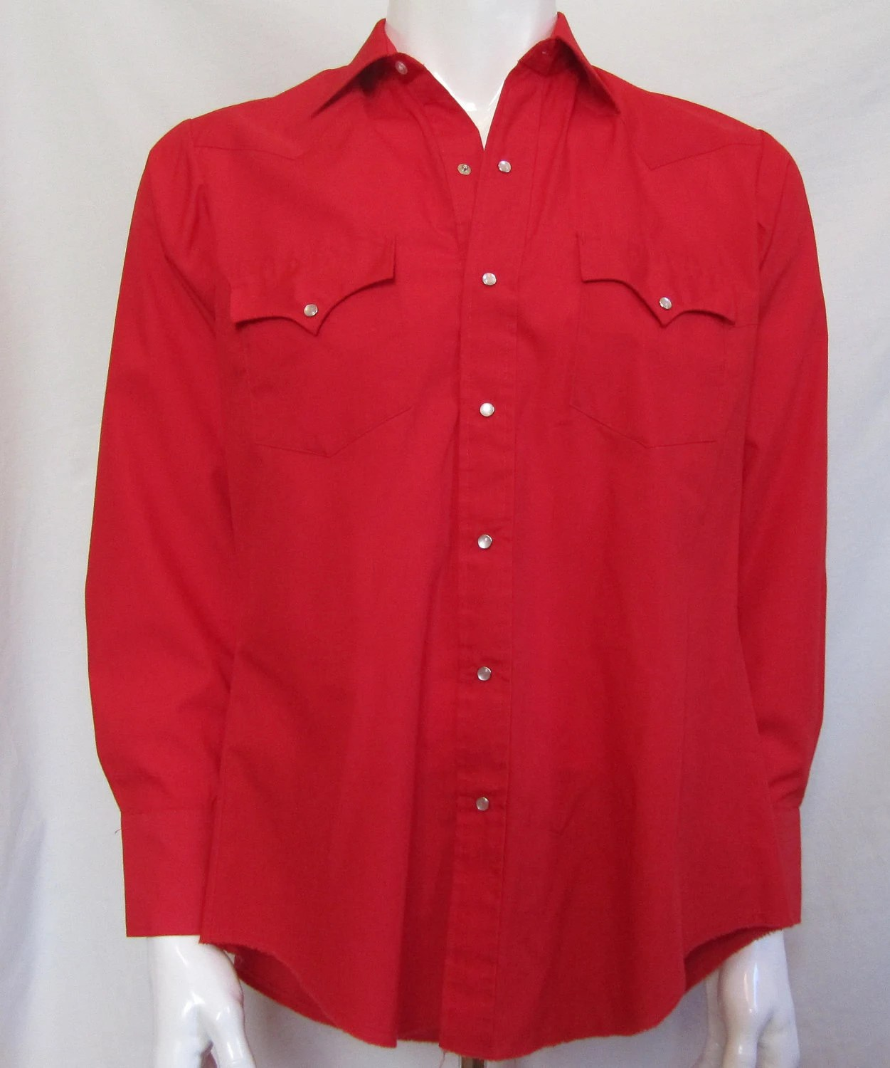 Mens LARGE Ely Plains western shirt, vintage, fire engine red, pearl snaps