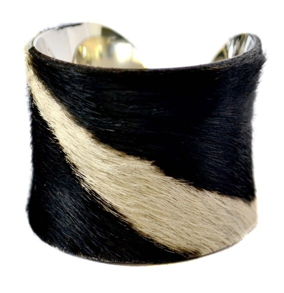 Black and White Streaked Calf Hair Cuff Bracelet - by UNEARTHED