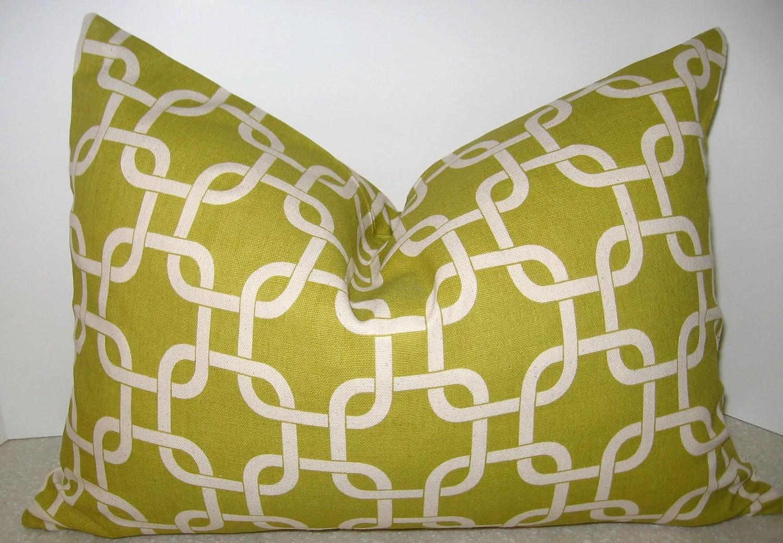 BOTH SIDES 20 x 14 Geometric lumbar pillow citron
