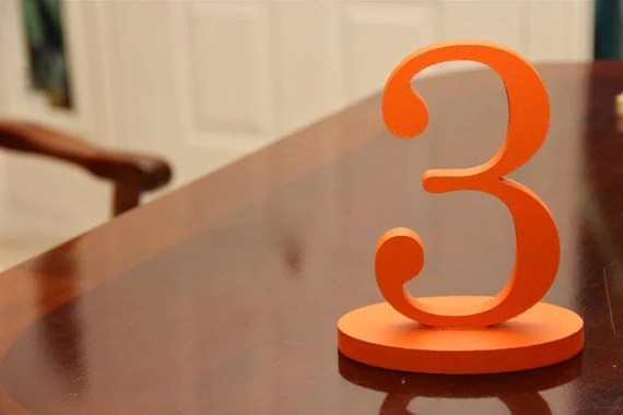 Orange Table Numbers - Wooden Table Numbers Orange for Summer Weddings