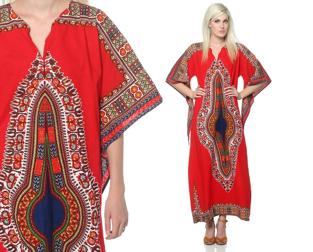 1970s Dashiki Maxi Dress Angel Sleeve Bell Sleeve 60s 70s Hippie Ethnic Boho Bohemian Cotton Tunic Caftan Red Vintage Medium Large M L XL