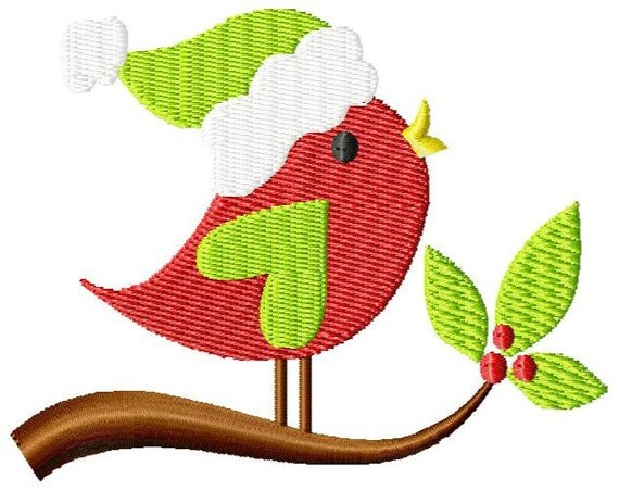 Christmas Bird on a Vine Machine Embroidery Design Single