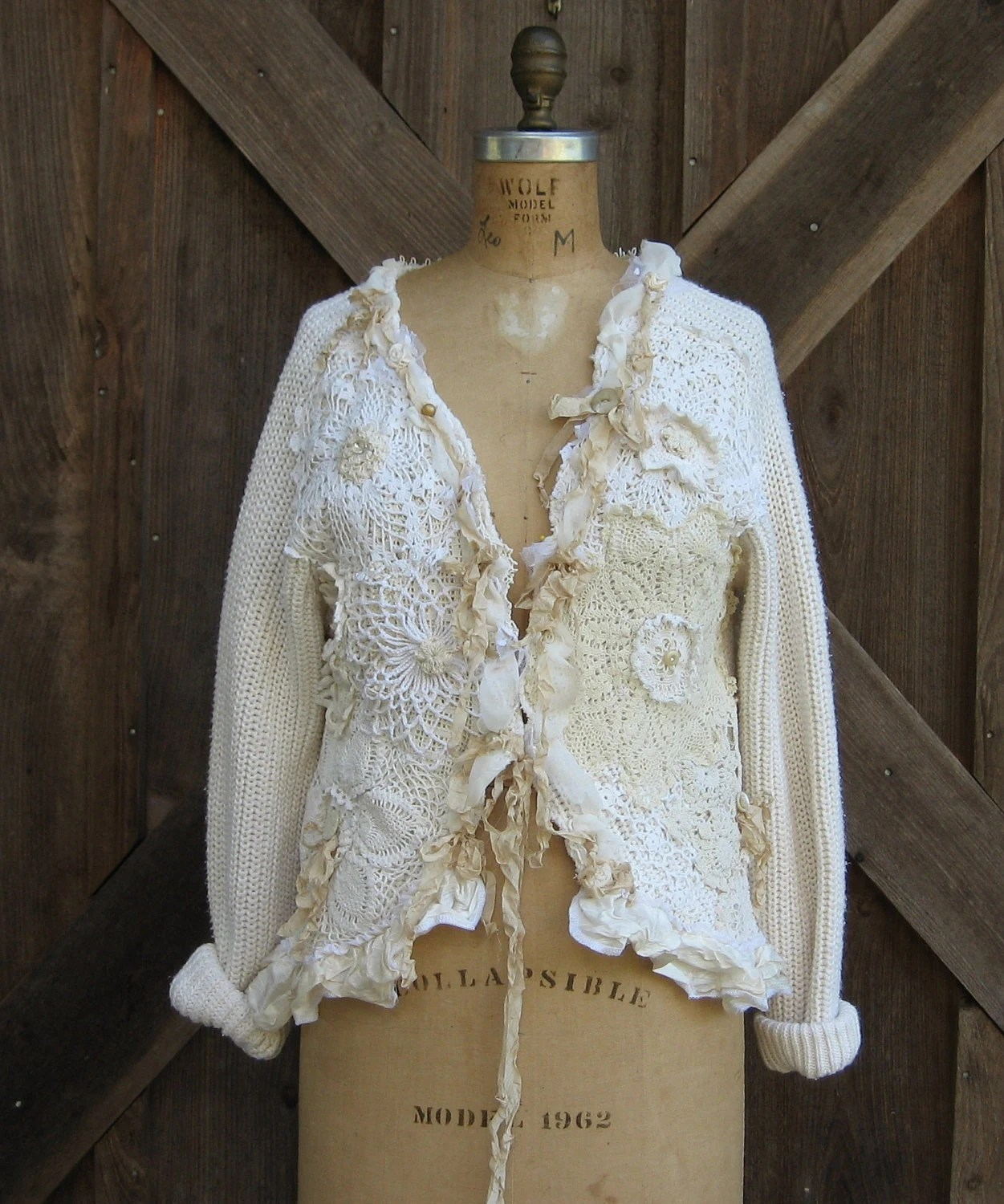 recycled reconstructed upcycled cardigan sweater in cream ooak
