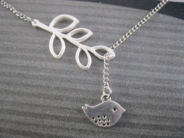 necklace---silvery branch and little bird pendant & silvery chain