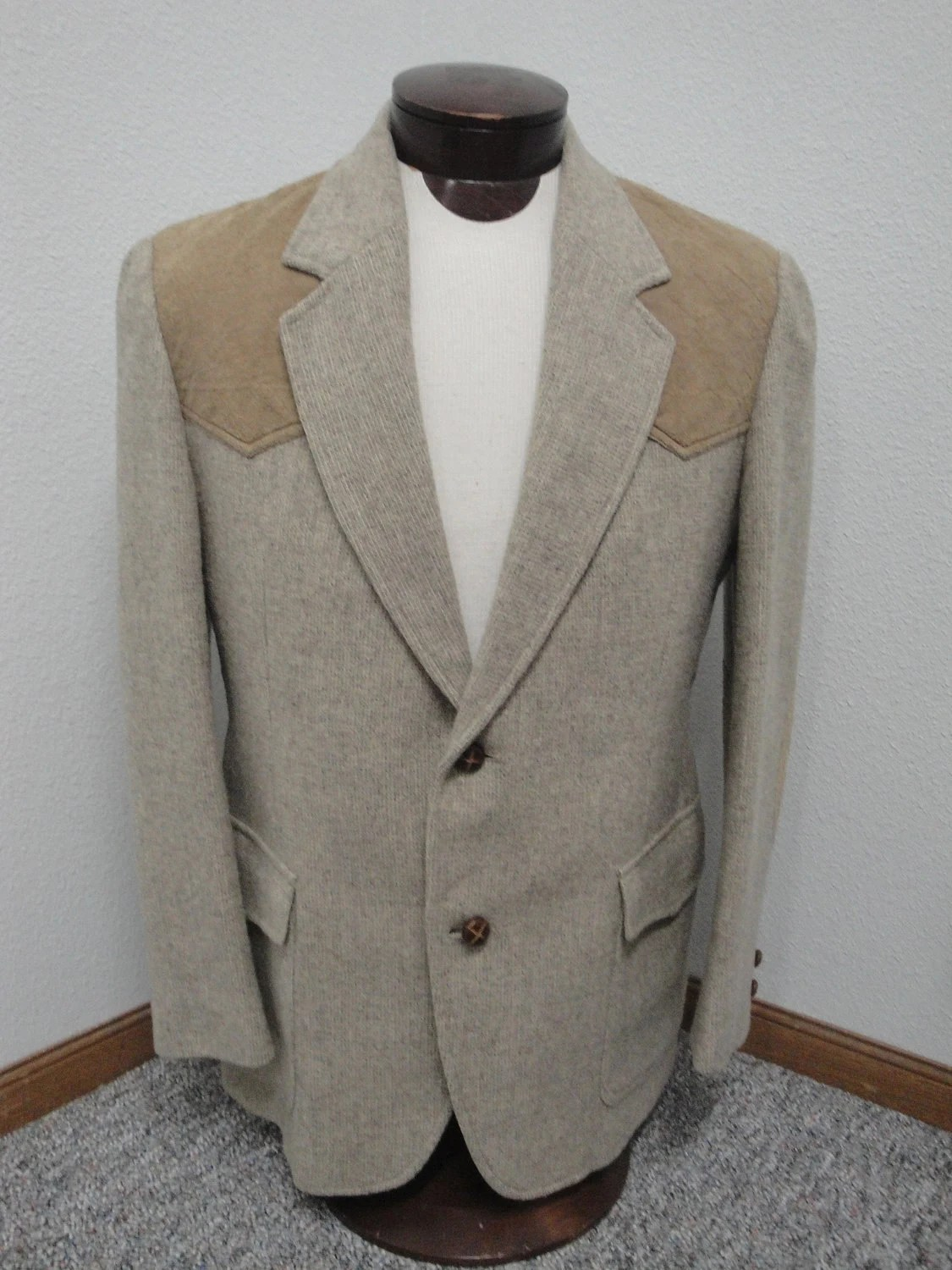Mens Pendleton Sports Coat with Elbow Patches and Western Cut