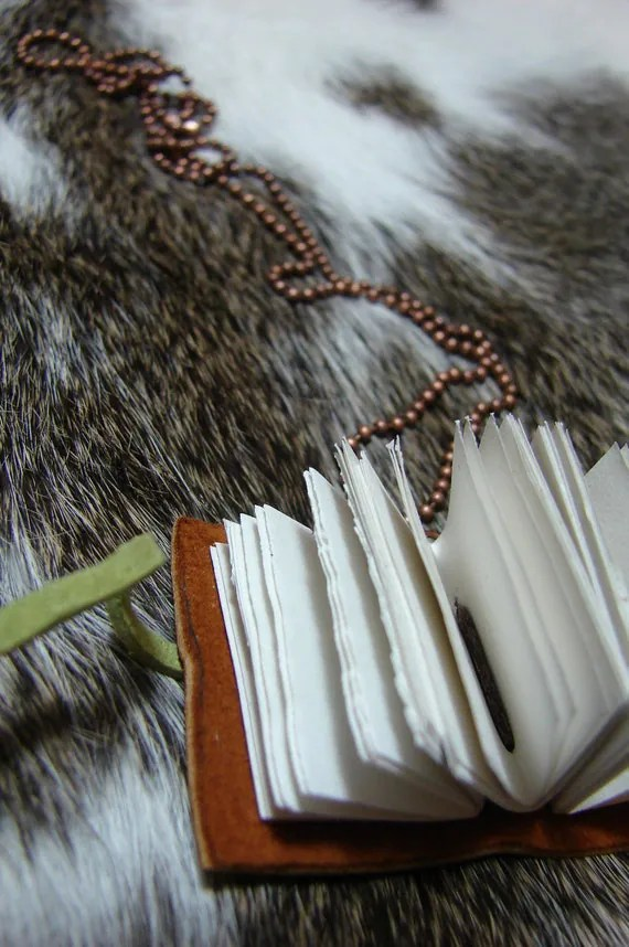 Mint - Leather Journal Necklace