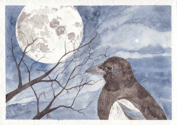 Satellite Watercolor Magpie Painting