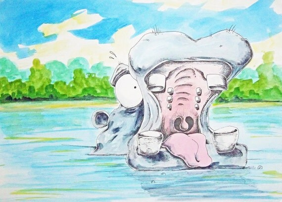 Original Watercolor Painting Page 8 9  from Children's Book Thunderful Hippo with Hiccups are Huge earth shakers