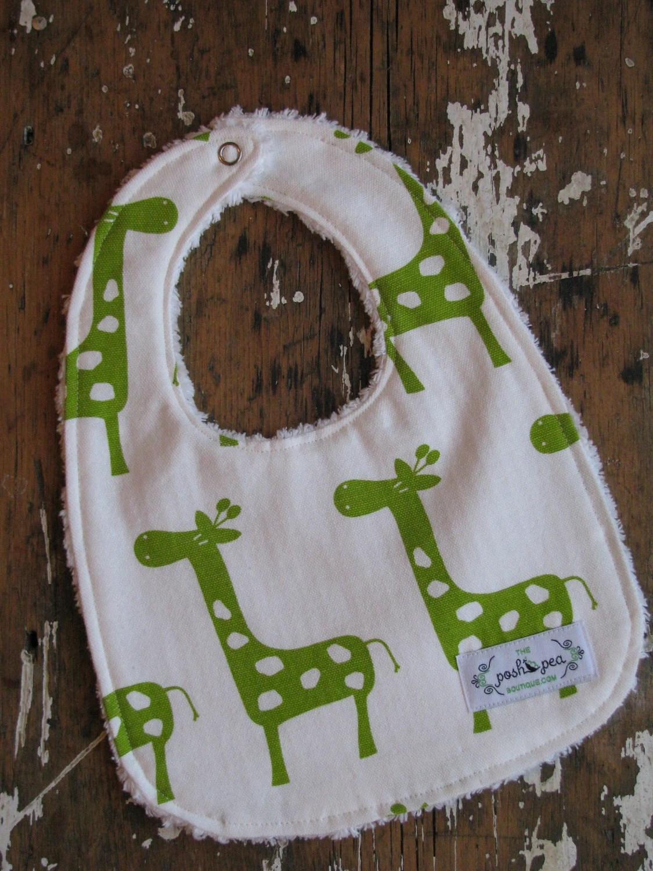 Gender Neutral Baby Bib - Lime Green Giraffes and Chenille