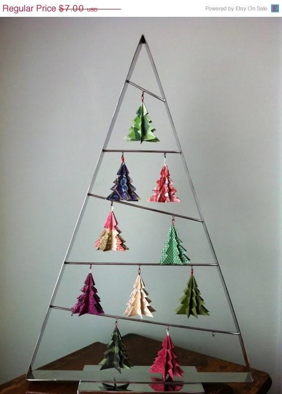 Origami Christmas Tree Ornaments (Merry) - SIx Ornaments