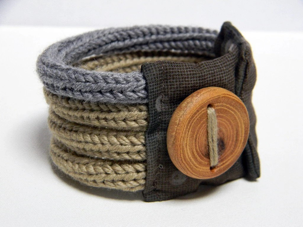 Knitted bracelet wool and fabric - linen beige and tweed light grey - QUATTRO - Ready to ship