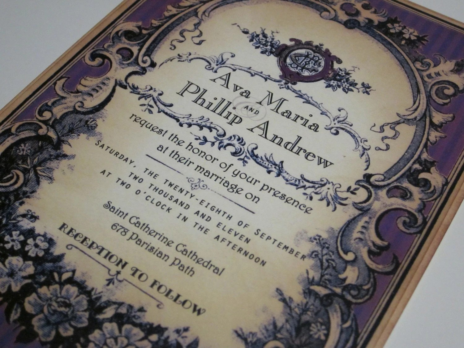 Vintage Wedding Invitation - Sample- Parisian Perfume Label - Ava Collection