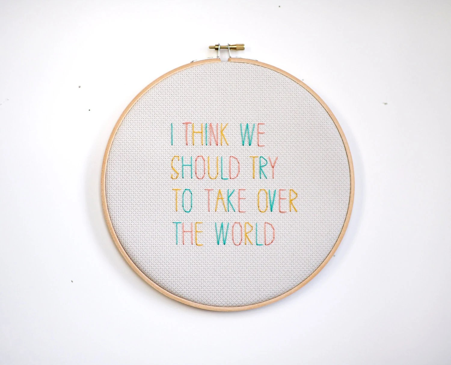 tri-color wall hanging hoop //  'I Think We Should Try To Take Over The World' // gift art