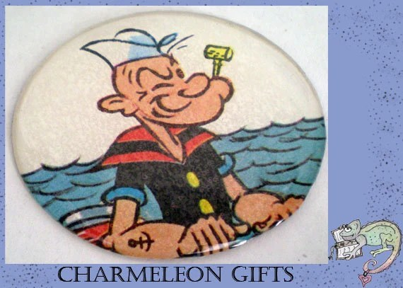 Handmade 2 inch upcycled Circular magnet-Popeye the Sailor theme