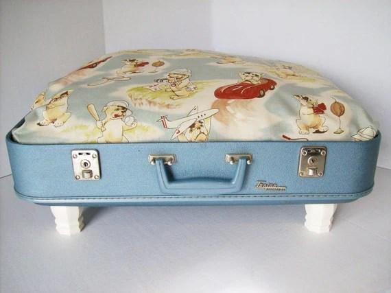 Чемодан Pet Bed от Vintage чемодан 50-х годов - синий с Винтажный стиль Lil Rascals ткани бульдогов Премиум по ткани Moda