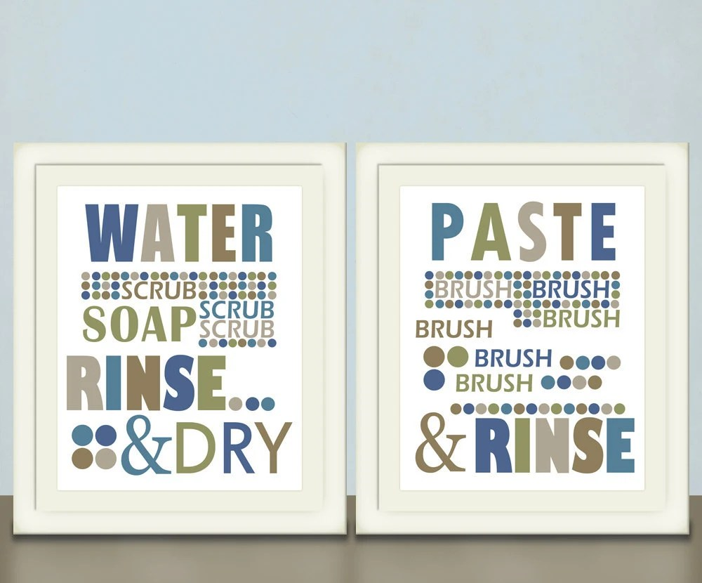 Kids Bathroom Art, Wash Your Hands, Brush Your Teeth, Set of Two, pick custom colors, size 8x10