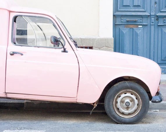 Pink French Car, South of France Photo  - 8 x 10 - Fine Art Photography print - French Home decor Pink Nay Pastels wall art