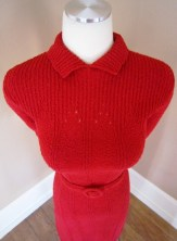 LIPSTICK Red 1940s Sweater Knit Dress Art Deco CLINGY Cocktail Party Frock Vintage VALENTINE 40s 1930s 50s