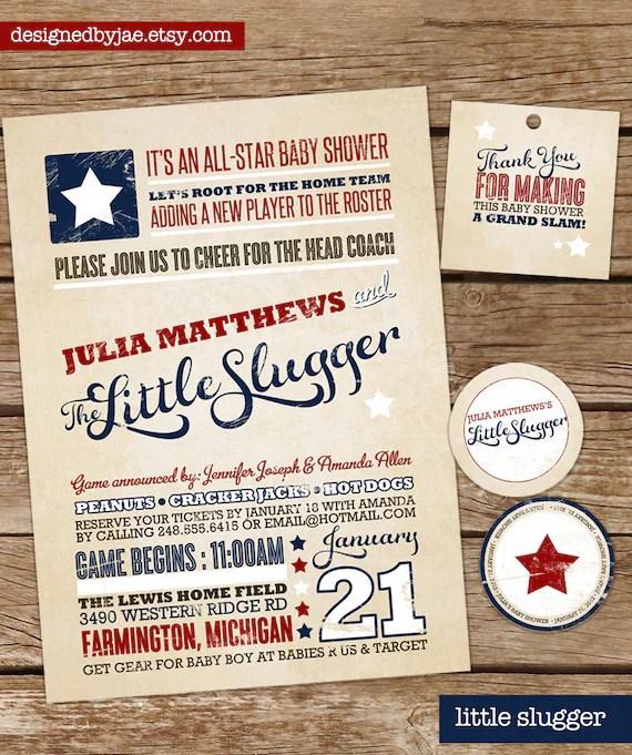Baby Boy Shower Invitation - Little Slugger - Baseball - Sports - Vintage Modern Tyopgraphy Poster, Rustic  (digital diy printable)