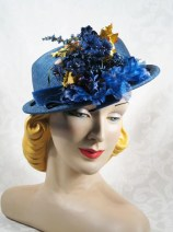 Vintage Hat 1940s Helen Joyce Slate Blue Straw Derby with Flowers