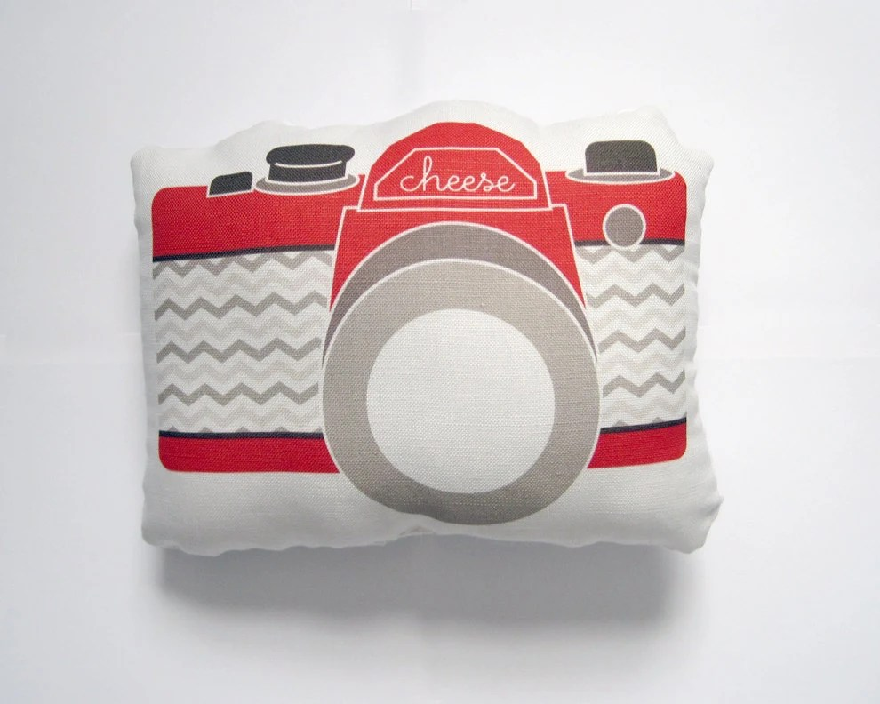 Camera Plush / Pillow in Red, Tan and Brown Chevron by Yellow Heart Art