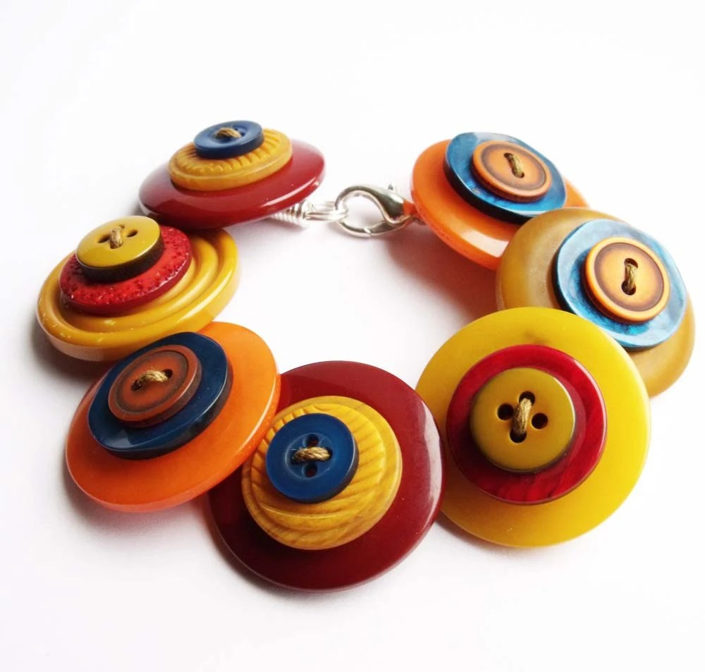 Large button bracelet, handmade, chunky, quirky, statement, mustard, blue, yellow, orange - realicoul