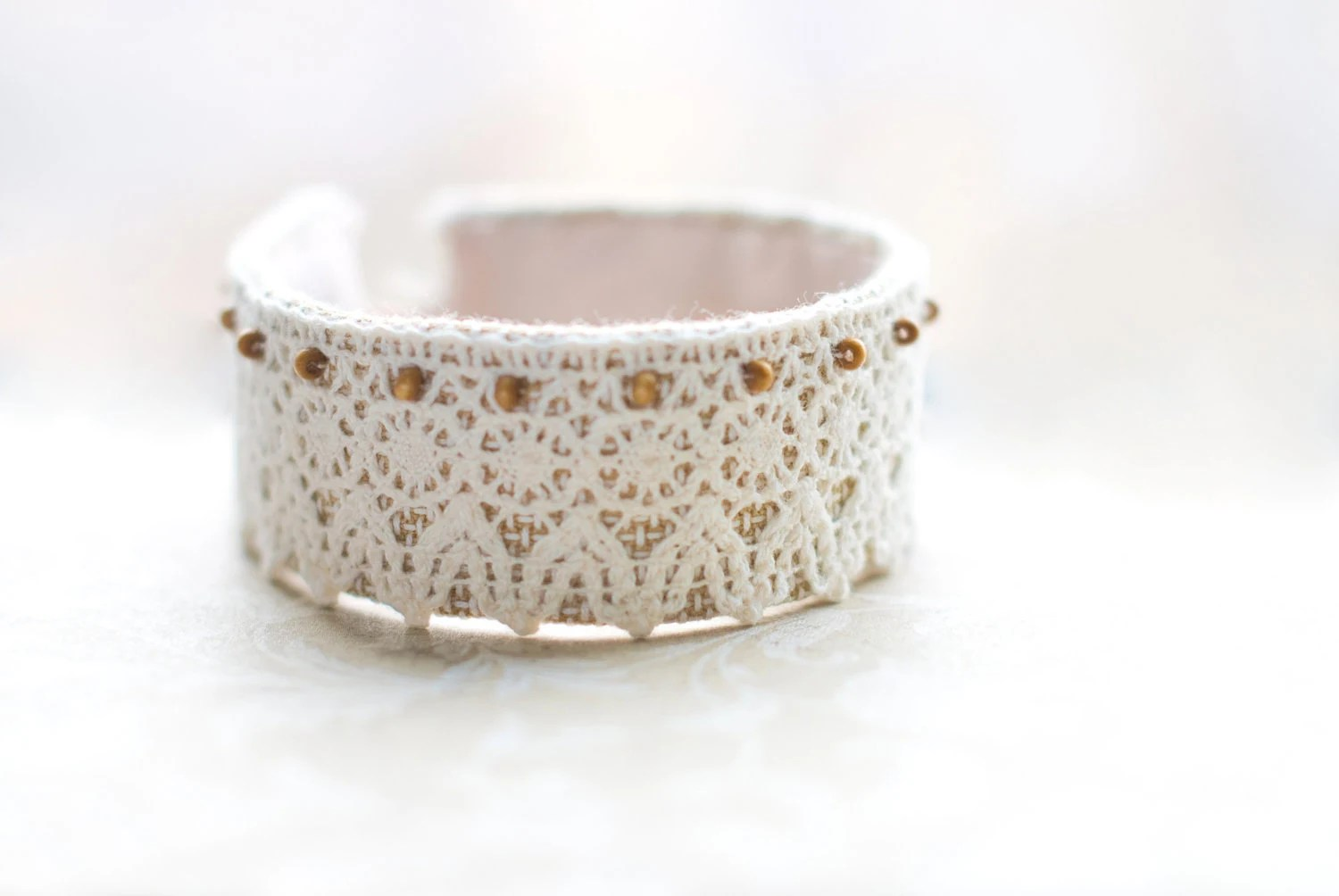 Textile bracelet. Shabby chic. Wedding bridal bride. Gift for her,  lace, beige,