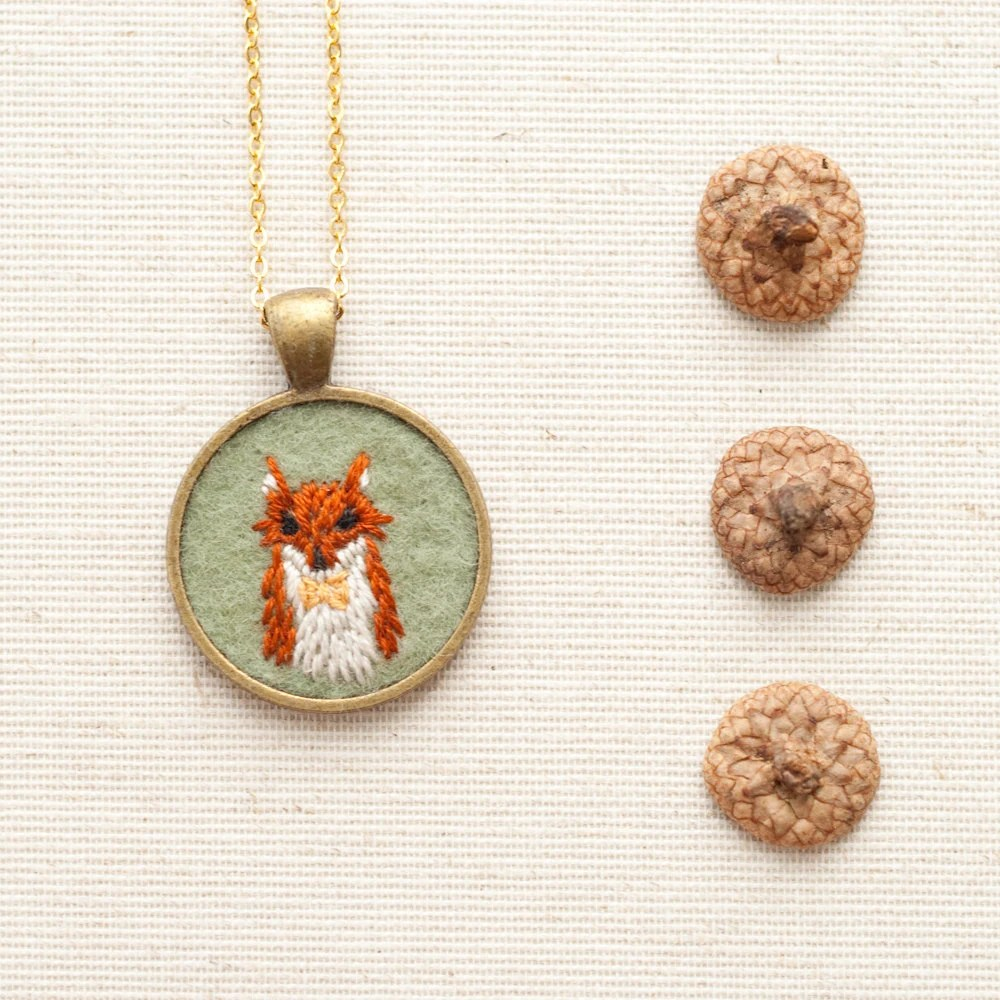 Embroidered Felt Fox Necklace with Bow Tie by KnitKnit