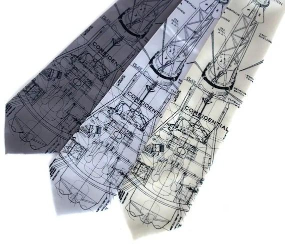 """Rocket blueprint necktie, Mercury spacecraft. """"Rocket Science II"""" men's tie. Navy screen print."""