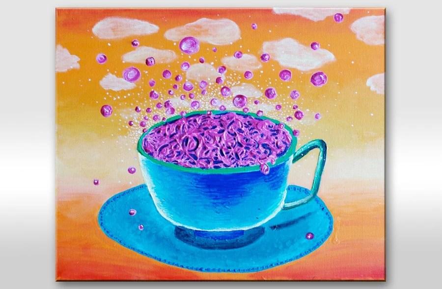 "Painting on Canvas Colorful Original Artwork ""Break for the dreams"". Colors: orange, blue, pink, purple (violet), white 18x15"