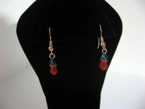 Red and Aqua Dangle Earrings