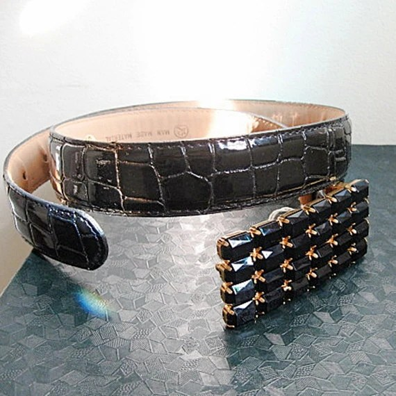 black thin belt vintage 90s black stone buckle
